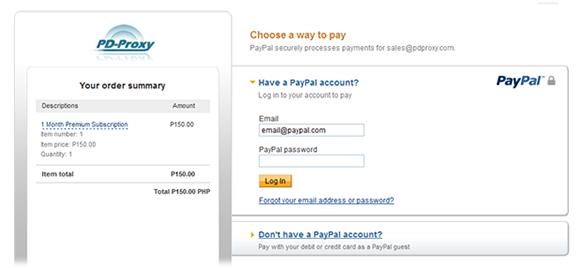 Upgrade PD-Proxy account using PayPal